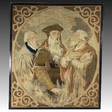 """Antique Victorian Era Needlepoint Tapestry Panel, The Philosophers, No Frame 23"""" x 20"""""""