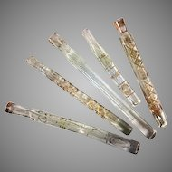 5 RARE c.1650-1700 French Cut Crystal Perfume Scent Bottle, Lay Down Tubes