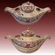 Rare 19th C. Gilt Bronze & Porcelain Gondola Shaped Urn Inkwell Stand
