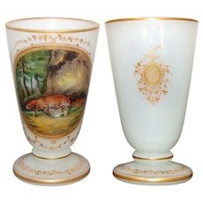 Antique Napoleon III Era White Opaline Goblet or Chalice, Hand Painted Fox Hunt