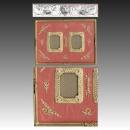 HUGE Antique French Empire (Nap III) Dore Bronze Double Frame, Ormolu