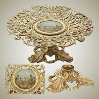 Antique Grand Tour Souvenir Card or Cake Tray: Osborne House Eglomise Painting