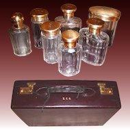 Opulent 1931 London Gilt Sterling Silver Vanity Travel Case, Cordovan Leather