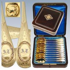 Antique Napoleon III Casket, 12pc French .800/1000 Spoon Set - GRANDVIGNE (Tetard successor), 4, rue Beranger, PARIS