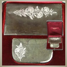 Rare Antique French 2pc Aide Memoire Etui Boxed Set, Silver Accenting