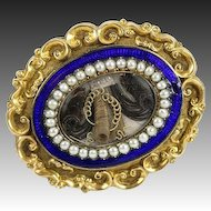 Antique Victorian Era Enamel Mourning Brooch, 12K Gold, Seed Pearls - French Hair Art Locket