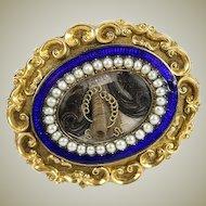 Antique Victorian Era Enamel Mourning Brooch, 12K Gold, Seed Pearls - French Hair Art Locket