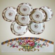 """Set of 7 Vintage Haviland, Limoge  7.5"""" Salad, Dessert Plates - Pattern: Commodore, Haviland & Co, Limoge, France"""
