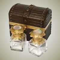 Antique Victorian Perfume Casket, Tooled Leather Box with Two HP Eglomise Scent Bottles