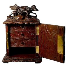 Antique Black Forest Carved Fox, Upright Jewelry Chest, Box - Animalier Artistry, Fox in a Trap