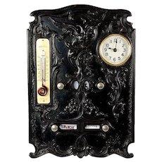 Antique French Perpetual Calendar, Clock, Gutta Percha - Napoleon III RARE Treasure!