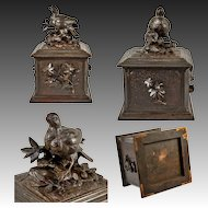 Antique 19th Century Hand Carved Black Forest Tea Caddy with Bird
