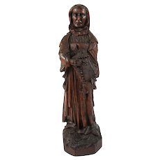 Antique Carved Saint, Wood Figure From a 16th-18th c. Altarpiece, Northern European Art Sculpture