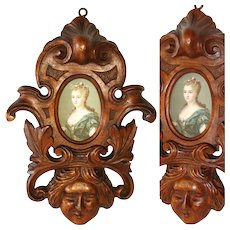 "Antique French Black Forest or Brittany Style Carved Walnut 11"" Picture Frame, Ornate & Figural"