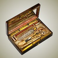 Antique French Palais Royal 18k Gold Sewing Set, Etui, Thimble, Scissors, Scent Bottle, Silk Winders, Pencil