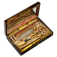 Antique French Palais Royal 18k Gold Sewing Set, Etui, Thimble, Scissors, Scent Bottle, Silk Winders, Pencil