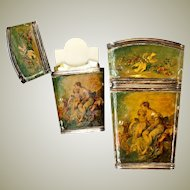 Antique French Sterling Silver & Vernis Martin Painting Necessaire, Note Card or Dance Card