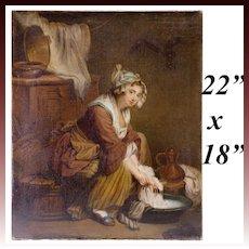 """Antique c.1830-50 Oil Painting on Linen Canvas, Laundress """"apres"""" Jean-Baptiste Greuze  22"""" x 18"""""""