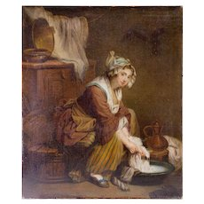 "Antique c.1830-50 Oil Painting on Linen Canvas, Laundress ""apres"" Jean-Baptiste Greuze  22"" x 18"""