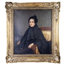 Antique French Portrait in Oil on Canvas, Original Frame, Interior with Beautiful Matron, Artist: Eugenie Marie SALANSON