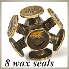 Antique Victorian Wheel Sceau, 8 Sentimental Wax Seal Matrix, Brass with Hardstone Seals (2)