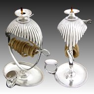 """Antique Early 1800s Georgian Era Silver Plate 6"""" Wax Jack, Desk or Writer's Candle Holder"""