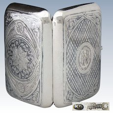 "Antique Russian Sterling Silver Cigar Case, 6+oz, Itska Lozinski, Moscow Silversmith, ""NM"" Monogram, c 1896 Niello"