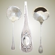 Antique French Sterling Silver 'Pelle a Fraises', Strawberry or Fruit Serving Spoon