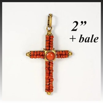 """Antique Victorian Red Coral Cross, 2"""" + Bale, Pinchbeck or Rolled Gold Pendant"""