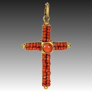 "Antique Victorian Red Coral Cross, 2"" + Bale, Pinchbeck or Rolled Gold Pendant"