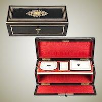 RARE Antique French Napoleon III Era Box, Casket, Complete: Necessaire, Coin Purse, 1850