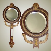 """Lovely Antique French Empire Revival Style 14.25"""" Hand or Vanity Mirror, Dore Bronze on Mahoghany"""