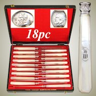 Rare Complete 18pc Set Antique French 1819-1838 Silver & Mother of Pearl Entremet or Luncheon Knife Set