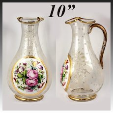 RARE Antique c1840-50 Bohemian Moser HP Full-Size Pitcher, Decanter, Floral