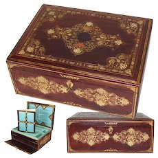 "Superb Antique Victorian Gilt Embossed Leather 13.5"" Writer's Box, Compendium, Opulent Interior"