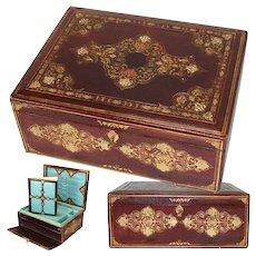 """Superb Antique Victorian Gilt Embossed Leather 13.5"""" Writer's Box, Compendium, Opulent Interior"""