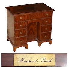 "Rare Vintage Maitland Smith 16.5"" Miniature Desk Shaped Jewelry Chest, Mahogany Veneer, George I Kneehole Style"
