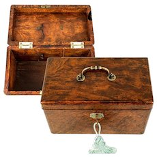 Museum Antique King George II (c.1740s) Tea Caddy, Box, Chest in Burr Yew Wood