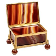 "2.5"" Antique Idar - Oberstein Agate Specimen Box, Casket in Dore Bronze Frame,  Banded Agate Jewelry Box Casket"