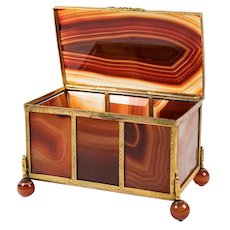 "RARE Large 5"" Antique Idar - Oberstein Agate Specimen Box, Casket in Dore Bronze Frame"
