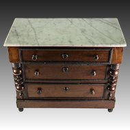"Antique French Apprentice Miniature Chest of Drawers, Doll Size, Charles X c. 1830s, Marble Top 17"" x 14"""