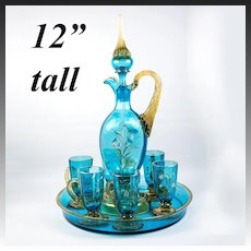 Stunning 19th c Antique French Liqueur Service Set, Decanter, Tray, 6 Cups with Enamel