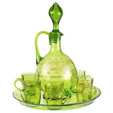 Antique French Liqueur Service, 19th c. St. Louis - 1 Enameled Decanter, 5 Cordial Cups, Tray