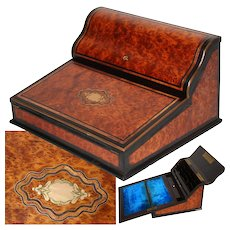 "Antique Napoleon III Era Marquetry Inlay 15"" Ecritoire, Writer's Box, Burled Veneers, Stationery Compartment, Lock & Key"