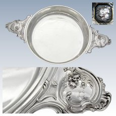 "Elegant Antique French Sterling Silver 11.75"" Wide 'Ecuelle', Serving Dish or Legumier"