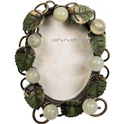 Antique French Petit Gem Frame, Tole Leaves and Opaline Beads - Excellent
