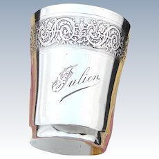 """Antique French Sterling Silver Wine or Mint Julep Cup, Tumbler """"Timbale"""" with Guilloche Decoration & """"Julien"""" Inscription"""