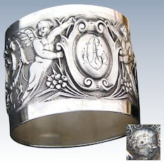 Superb Antique French Sterling Silver Napkin Ring, Winged Cherub Figures, Musical Instruments