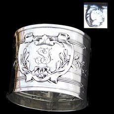 """Antique French .800 (nearly sterling) Silver 2"""" Napkin Ring, Laurel Accented Medallion with """"SF"""" Monogram"""