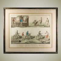 Antique Hand Painted Intaglio Print, in Frame, Glassmakers, Diderot & d'Alembert's , c.1700s #2